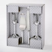 Plain Elegance Silver 4 Piece Flutes & Cake Server Set